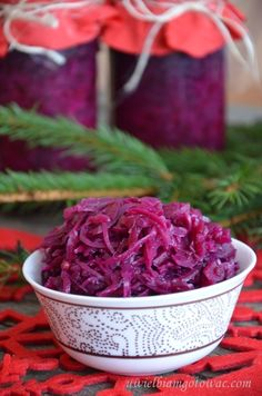 Kapusta czerwona na zimę (Sałatka z kapusty czerwonej na zimę) Polish Recipes, Red Cabbage, Coleslaw, Yummy Snacks, Preserves, Side Dishes, Food And Drink, Healthy Eating, Appetizers