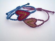 Macrame bracelets. Bracelets hearts. Friendship bracelets. Bracelets of summer.