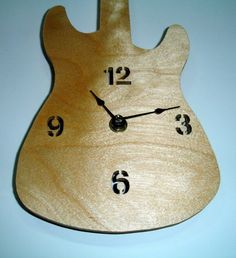 Guitar Wall Clock Handmade from Birch Plywood $22.95
