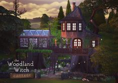 Sims 4 CC's - The Best: The Woodland Witch Cottage (No CC) by femmeonamiss. Sims 4 CC's - The Best: The Woodland Witch Cottage (No CC) by femmeonamiss. Sims 3, Sims 4 Mods, Lotes The Sims 4, Forest Cottage, Witch Cottage, Witch House, Vampire House, Sims 4 House Plans, Brick Cottage