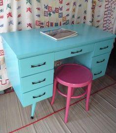 Calypso Retro Desk vintage painted furniture turquoise beachy blue