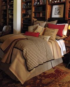 """""""Equestrian"""" Bed Linens by French Laundry Home at Horchow.   This just shouts to me, """" dignified man, country gentleman"""", love for guest bedroom..."""