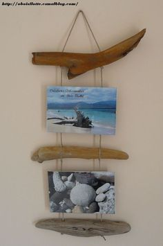 double_cadre_photo_12 Painted Driftwood, Driftwood Wall Art, Driftwood Projects, Diy Pallet Projects, Beach Crafts, Diy And Crafts, Deco Marine, Painted Wood Walls, Creation Deco