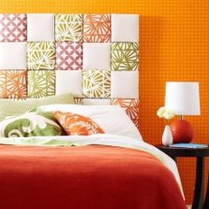 Easy Upholstered Headboard: This contemporary patchwork-effect is made with fabric scraps, 8-inch squares of florist's foam mounted on 1/4-inch plywood, and quilt batting.