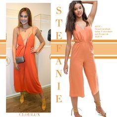 Stefanie Giesinger trägt einen orangen Overall mit weitem Bein! Perfekter Sommerlook! Jumpsuit, Street Style, Celebrities, Dresses, Fashion, Summer, Overalls, Vestidos, Moda