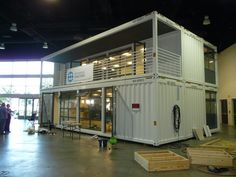 Two story modular office structure built using a frame system identical to ISO sipping container. It ships like a container but is built for human occupancy. Cargo Container Homes, Container Shop, Building A Container Home, Container Buildings, Container Architecture, Container House Design, Tiny House Design, Shipping Container Home Designs, Shipping Container House Plans