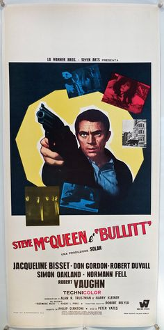 """Bullitt"", Italian Locandina (13x28in) Bold italian design for this great classic #vintage #movie #posters"