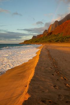 Sunset, Kalalau Beach, Napali Coast, Kauai, Hawaii