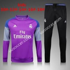 2016/17 Real Madrid Round Collar Purple Kids/Youth Soccer Tracksuit
