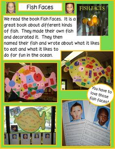 """K.RIT:Read the book """"Fish Faces"""" and have the kids make their own fish and write different facts they learned about one of the fish they read about"""