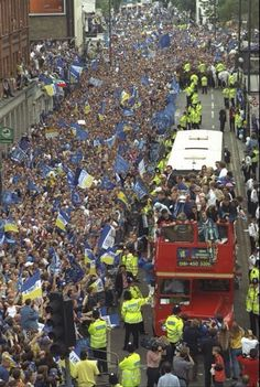 18 May 1997: CHELSEA Football Club parade through the streets in an open topped bus to celebrate their 2-0 victory over Middlesbrough in the 1997 FA Cup Final...