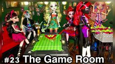 The GAME ROOM! This common room of our 50+ Monster High doll house room tour highlights the Picture Day doll line series. A fun spot for the students to lounge or shoot a game of pool! http://www.superbuddiesforever.com/ #monsterhighdollhouse