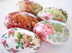 Rose Easter Eggs glitter decoupage floral cottage style pink sage green cream...By:CatnipStudioToo