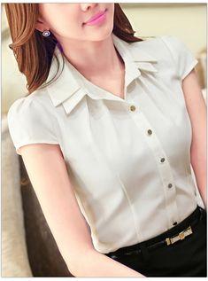 Lenshin cotton shirt casual style new fashion short sleeve gray Modest Summer Fashion, Summer Fashion Outfits, Work Fashion, Blouse Styles, Blouse Designs, Casual Work Outfits, Cool Outfits, Cute Blouses, Blouses For Women
