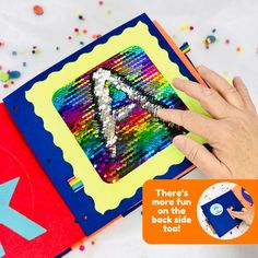 Metallic colored sequins with a metalic rainbow colored front and silver colored back, swipe your hand up to reveal the silver color and down to reveal the rainbow. Perfect for doodling, letters practice or a quick game of tic tac toe. This quiet book page is a sensory delight for kids and one of our most engaging activities. Montessori Activities, Kindergarten Activities, Time Activities, Diy Quiet Books, Shape Puzzles, Felt Letters, Sensory Toys, Busy Book, Learning Colors