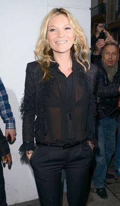 Kate Moss in Saint Laurent at Paris book signing