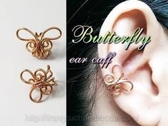 Simple butterfly ear cuff - handcrafted copper jewelry 348 - YouTube