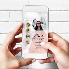 Cartão de visita interativo consultora, revendedora no Elo7 | Querido Convite. (F016EC) Mobile Application Design, Mobile App Design, Business Look, Business Card Design, Best Instagram Feeds, Virtual Card, Digital Business Card, Bussiness Card, Pink Cards