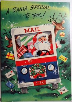 Vintage Santa mailman card. Can't find the original listing, but apparently this sort of imagery was not unusual, based on the number of results when I searched for it.