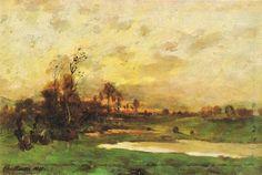 Antonín Chittussi - The landscape during sunset (1881) #painting #art #Czechia