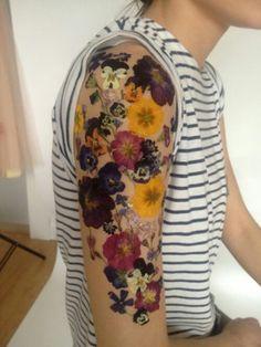 "Pressed flowers made into ""tattoo"" sleeve"