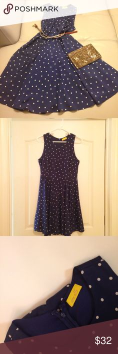 """Nordstrom Navy Blue Polka Dot Dress (never worn) A classy navy blue and white polka dot dress. A-line cut. Never worn, in mint condition. Perfect for the season. Pair it with some statement earrings. Or a glittery bag & and some heels, and you're all set for the party. Works great as a day dress too. Made in USA. Has a gorgeous fall to it. 100% polyester with lining. Bust, roundtrip, approx 33"""". Waistline 30"""". Length 36"""". Zips up at the back. Designer Dee Elle. This is a classic dress…"""
