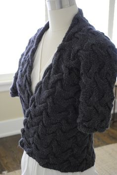 Cable Wrap Cardigan - one piece - by Monica Welle Brown