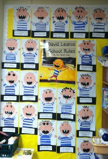 Beginning of the year: No, David into school rules project for a kindergarten classroom. First Grade Classroom, Classroom Rules, Kindergarten Classroom, School Classroom, Classroom Activities, Book Activities, Classroom Ideas, No David Kindergarten, School Rules Activities