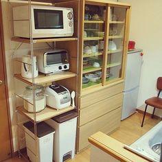女性で、2LDKの無印良品 スチールラック/無印良品 収納/賃貸/食器棚/収納/無印良品…などについてのインテリア実例を紹介。「ようやく食器棚ゲット♡」(この写真は 2014-12-05 21:45:00 に共有されました)