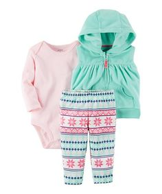 Carters Turquoise & Pink Fair Isle Sleeveless Hooded Vest Set - Infant | zulily