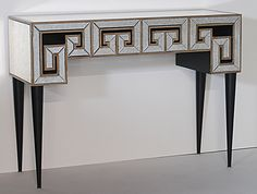 Greek Key Design Mirrored Console Table
