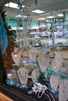 Window display at our bead store, Panama City, FL   We have a wide variety of beautiful handmade jewelry, gifts and more!   LH Bead Gallery