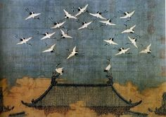 Auspicious Cranes (1112) inks on silk.    Huizong of Song (1082–1135)    Liaoning Provincial Museum