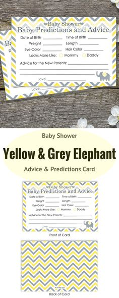 Baby Shower Advice and Predictions Cards - for Up to 20 Guests. Yellow and Gray Elephant Theme is Perfect for Gender Neutral Baby Showers. #elephantbabyshower #yellowelephantbabyshower #genderneutralbabyshower #babyshowerprediction