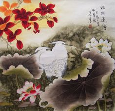 original painting floral painting chinese traditional art by art68, $238.00