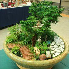 Miniature Garden of Bonsai Tree Micro Garden, Mini Fairy Garden, Fairy Garden Houses, Gnome Garden, Garden Pots, Garden Ideas, Dish Garden, Potted Garden, Fairy Gardening