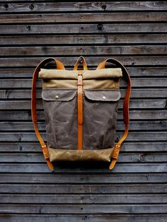 Waxed canvas backpack with roll to close top and di treesizeverse