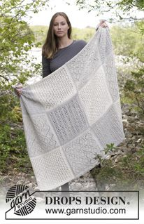 Twelve Clouds - Knitted blanket with squares in lace pattern. Piece is knitted in 2 strands DROPS Alpaca. - Free pattern by DROPS Design