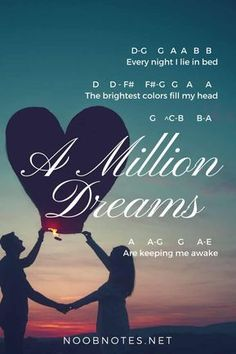 music notes for newbies: A Million Dreams – The Greatest Showman. Play popular songs and traditional music with note letters for easy fun beginner instrument practice - great for flute, piccolo, recorder, piano and more