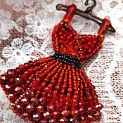 Украшения ручной работы. Ярмарка Мастеров - ручная работа Брошь платье красное. Handmade.