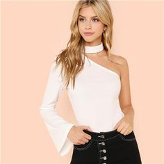 White Elegant Cut Out Choker One Shoulder Halter Flounce Sleeve Solid Blouse Cool Outfits, Fashion Outfits, Sexy Shirts, One Shoulder Tops, Blonde Beauty, Affordable Clothes, Cute Tops, Chokers, Bell Sleeve Top
