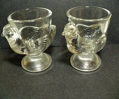 Figural Chicken Egg Cups  Pressed Glass by VintageatElsiesPlace