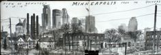 view of downtown in Minnesota's twin cities by artist and teacher Don Colley. Done with Faber-Castell pitt artist pens