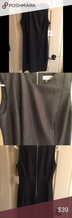Calvin Klein Dress! NWT Calvin Klein fitted dress. Dark denim look fabric. Calvin Klein Dresses Midi