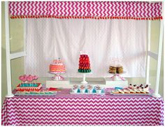 Chevron Party Table.  Idea to use...the frame on the table holding the backdrop...many ways to tweak this one!!