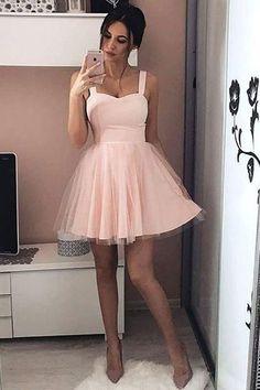 Homecoming Dresses 2018 #HomecomingDresses2018, Pink Prom Dresses #PinkPromDresses, Homecoming Dresses Short #HomecomingDressesShort, Prom Dresses A-Line #PromDressesALine, Blush Prom Dresses #BlushPromDresses