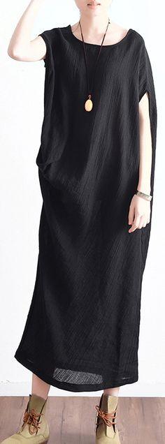 black linen sundress oversize asymmetric maxi dress
