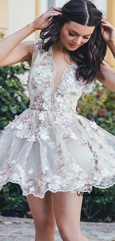 Buy Chicloth A-Line Chiffon V-neck Sleeveless Short/Mini With Applique Dresses, Prom Dresses Cheap,Homecoming Dresses Cheap Online. Cute Short Prom Dresses, White Homecoming Dresses, Prom Dresses For Teens, Hoco Dresses, Wedding Dresses, Dress Prom, Beautiful Short Dresses, Lace Prom Gown, Floral Dresses