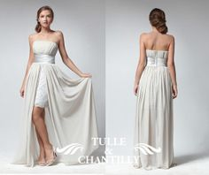Nude color lace chiffon strapless high low dress by TulleandChantilly, $161.00