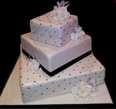 Black Hearts Wedding Cake — Square Wedding Cakes